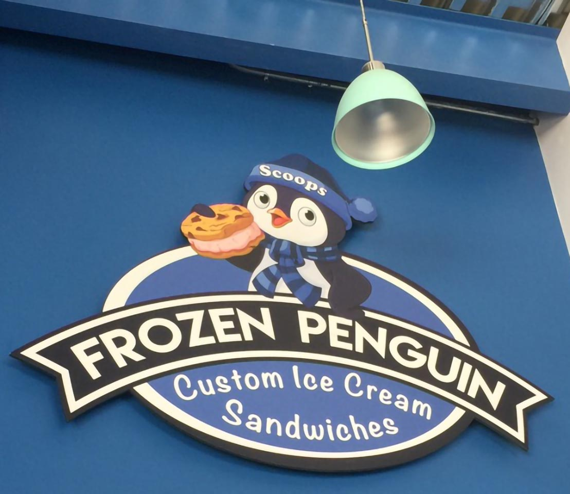 Frozen Penguin Restaurant Signage Printed Direct to Gatorboard