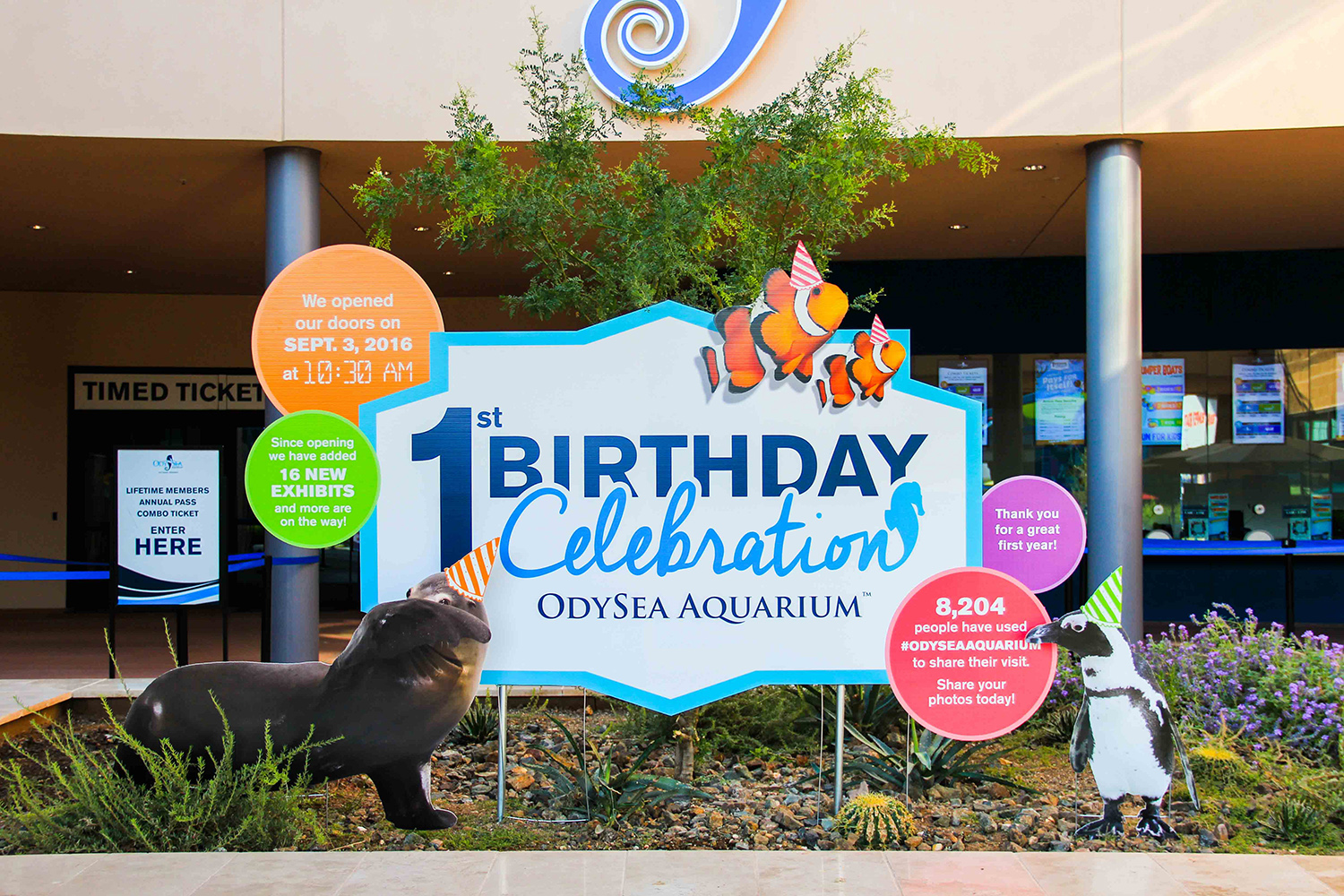 happy birthday sign for odysea aquarium 1st birthday printed by artisan
