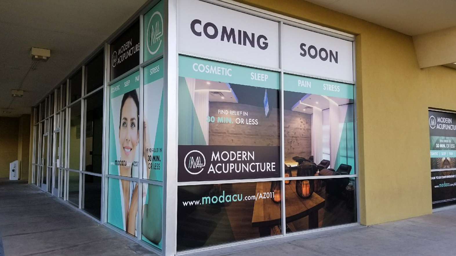 Modern Acupuncture Coming Soon Custom Window Wrap