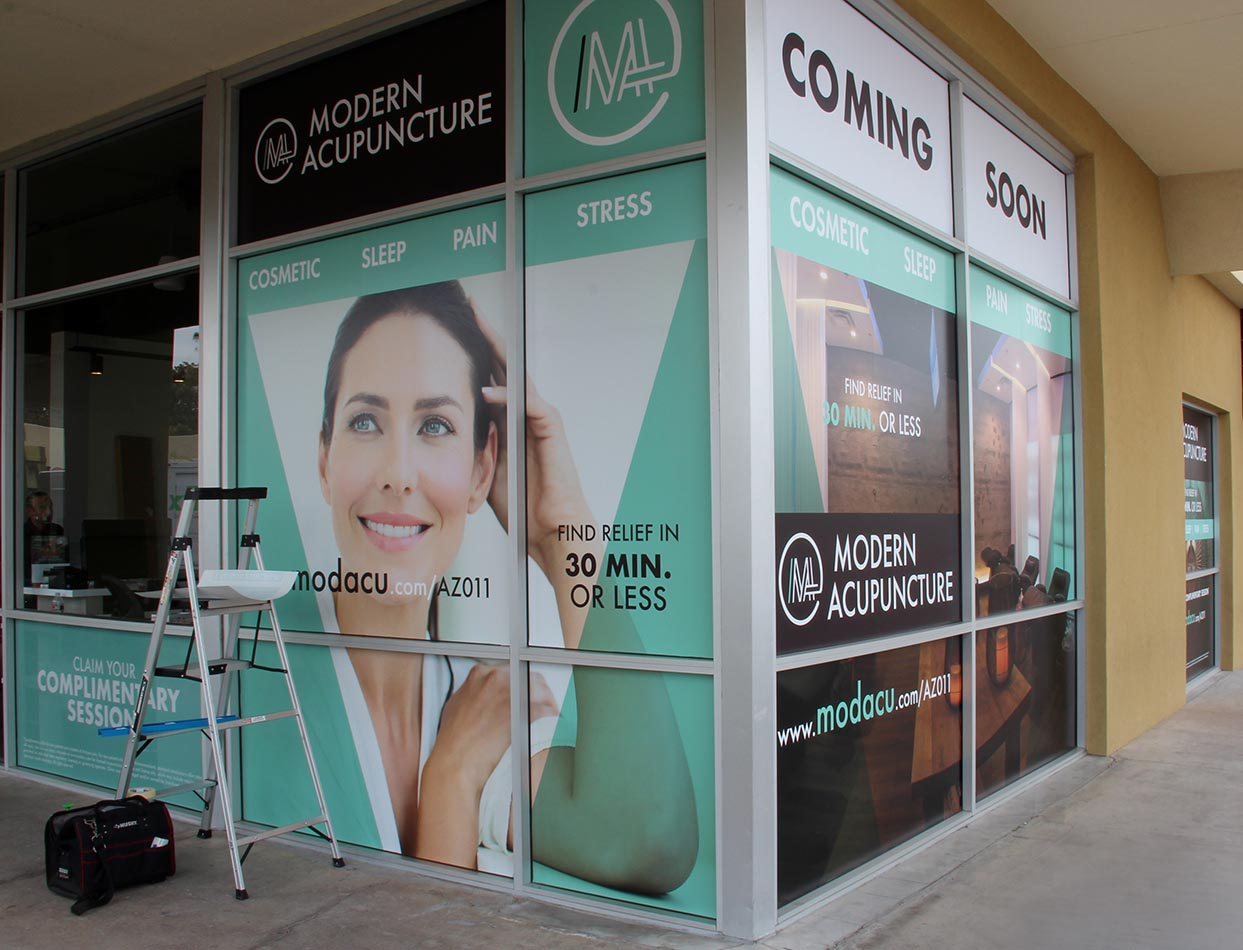 Modern Acupuncture Custom Corner Window Wrap Installation by Artisan Colour