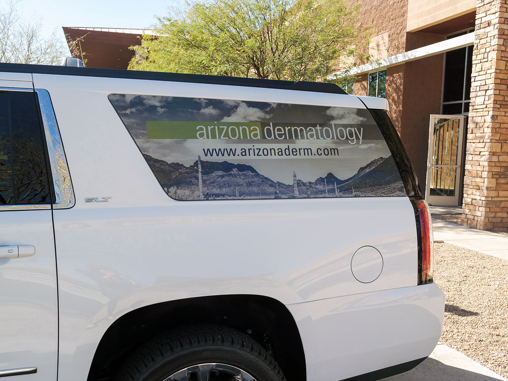 Arizona Dermatology See Through Perforated Material Printed Window Display Custom Vehicle Graphics