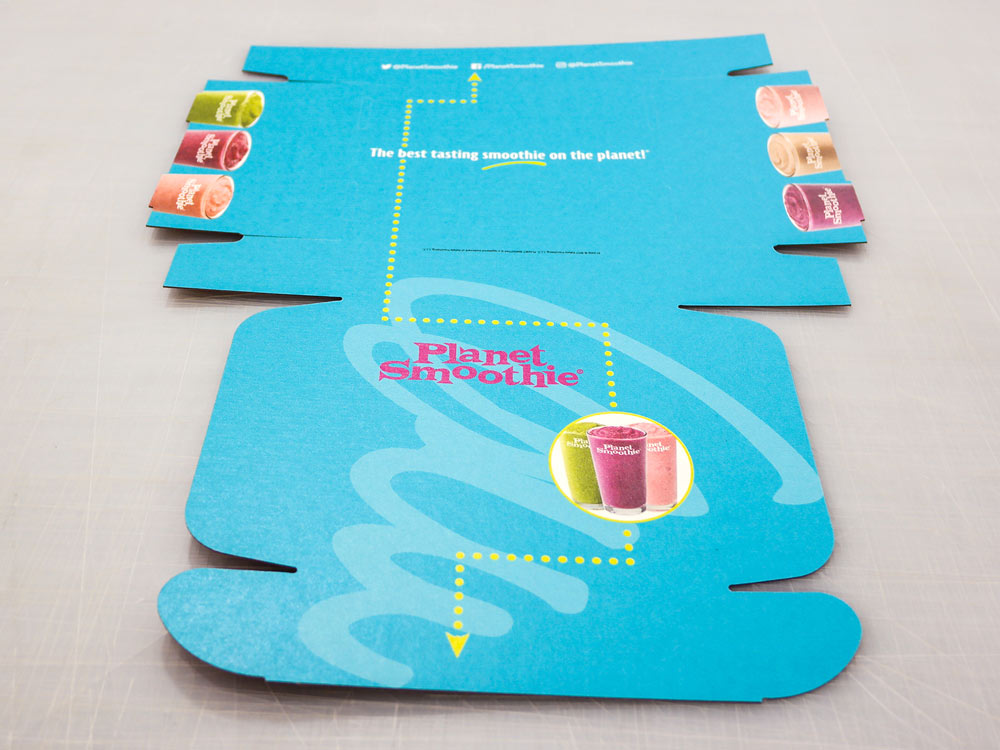 Colorful Planet Smoothie Printed Custom Packaging Prototype Box Flat Pack