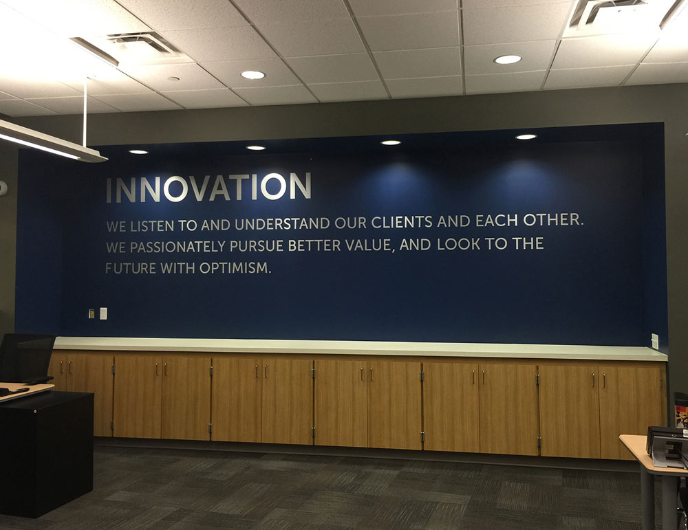 Company Values Quote Wall Display Graphics for Lexington Law Corporate Office