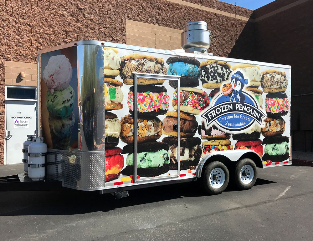 Frozen Penguin Ice Cream Refrigerated Trailer Wrap Custom Vehicle Graphics