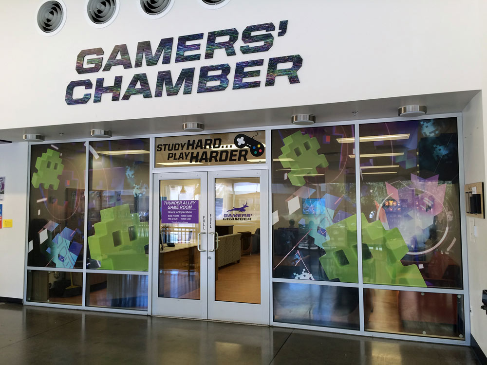 GCU Gamers' Chamber Large Format Printed Window Environmental Graphic Design
