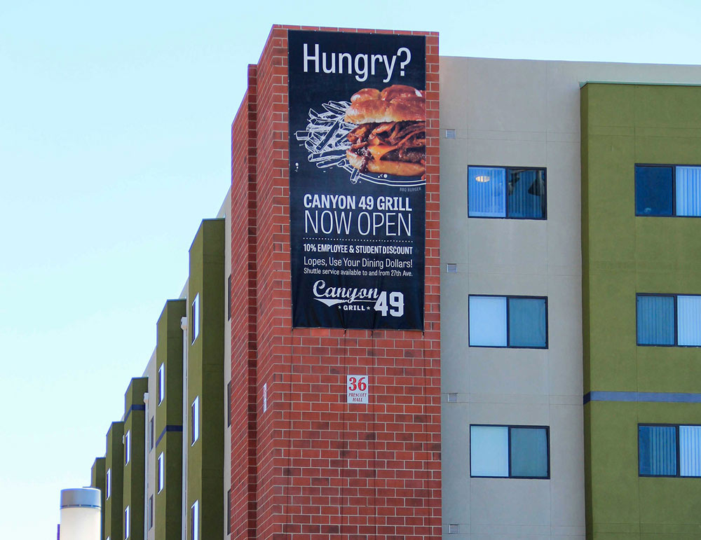 Giant Outdoor Promotional Banner for GCU Canyon Grill 49