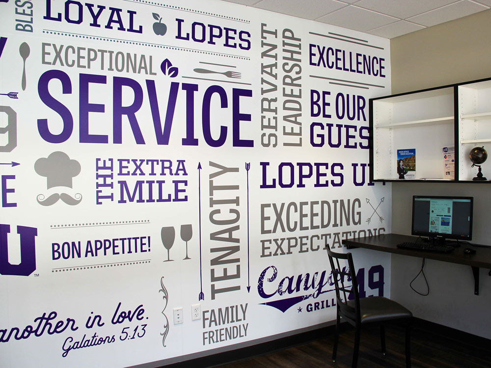 In-Store Wall Wrap Word Cloud at Grand Canyon Beverage Co.