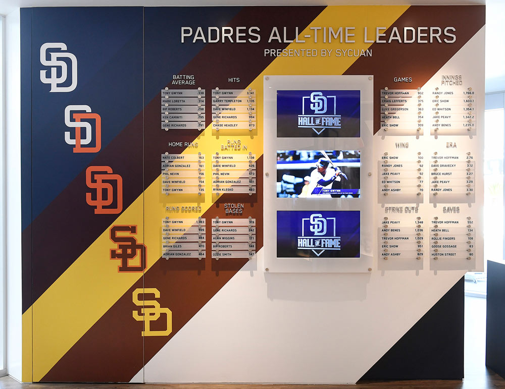 San Diego Padres Baseball Club All Time Leaders Signage Environmental Graphics