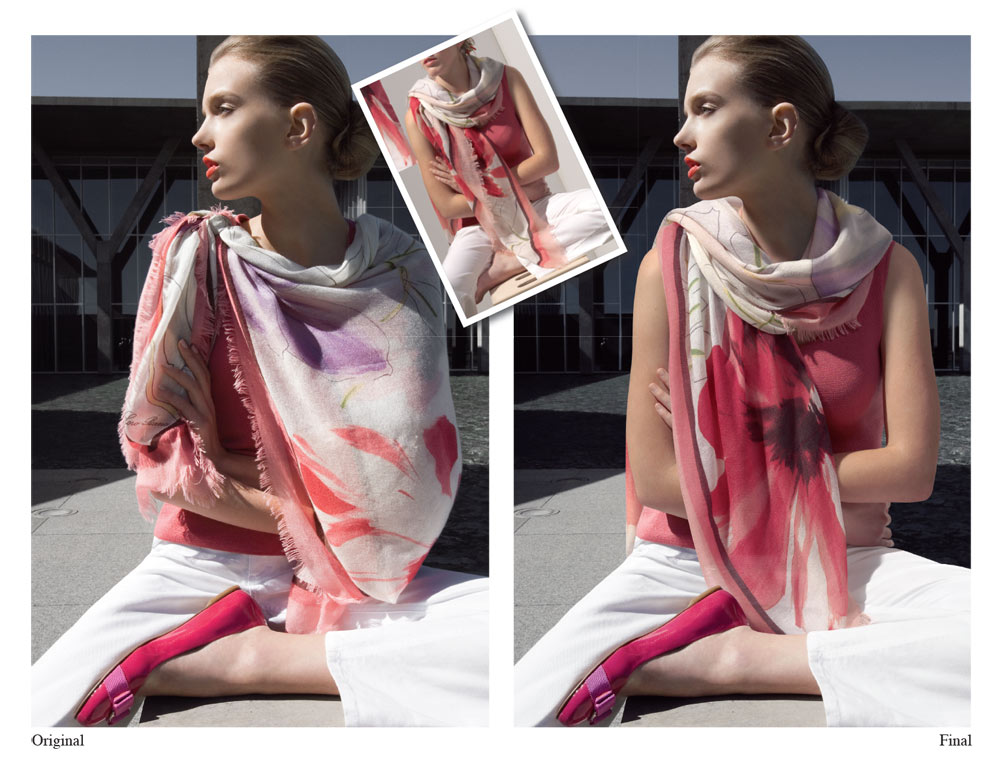 scarf custom product photography promotional image retouching retouching by Artisan Colour Photography Studio