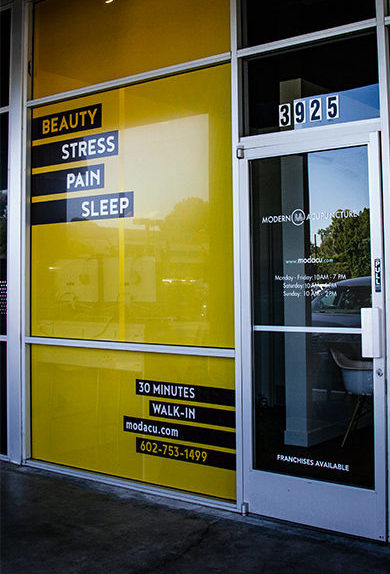 Modern Acupuncture Brand Marketing Redesign Window Wraps Printed by Artisan Colour