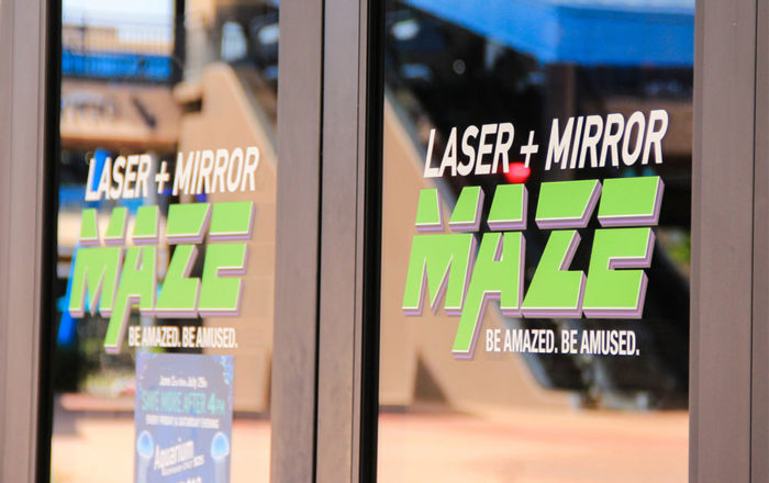 Front Entry Glass Door Window Display Laser Mirror Maze