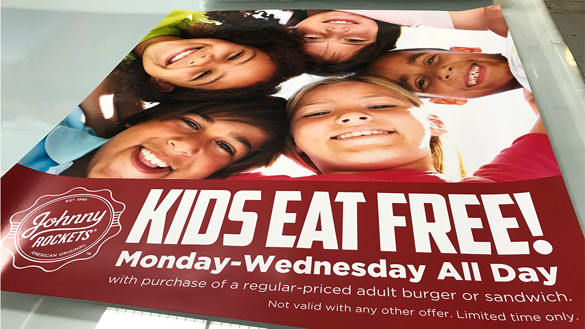 Johnny Rockets Signage Kids Eat Free ArtisanColour Graphics