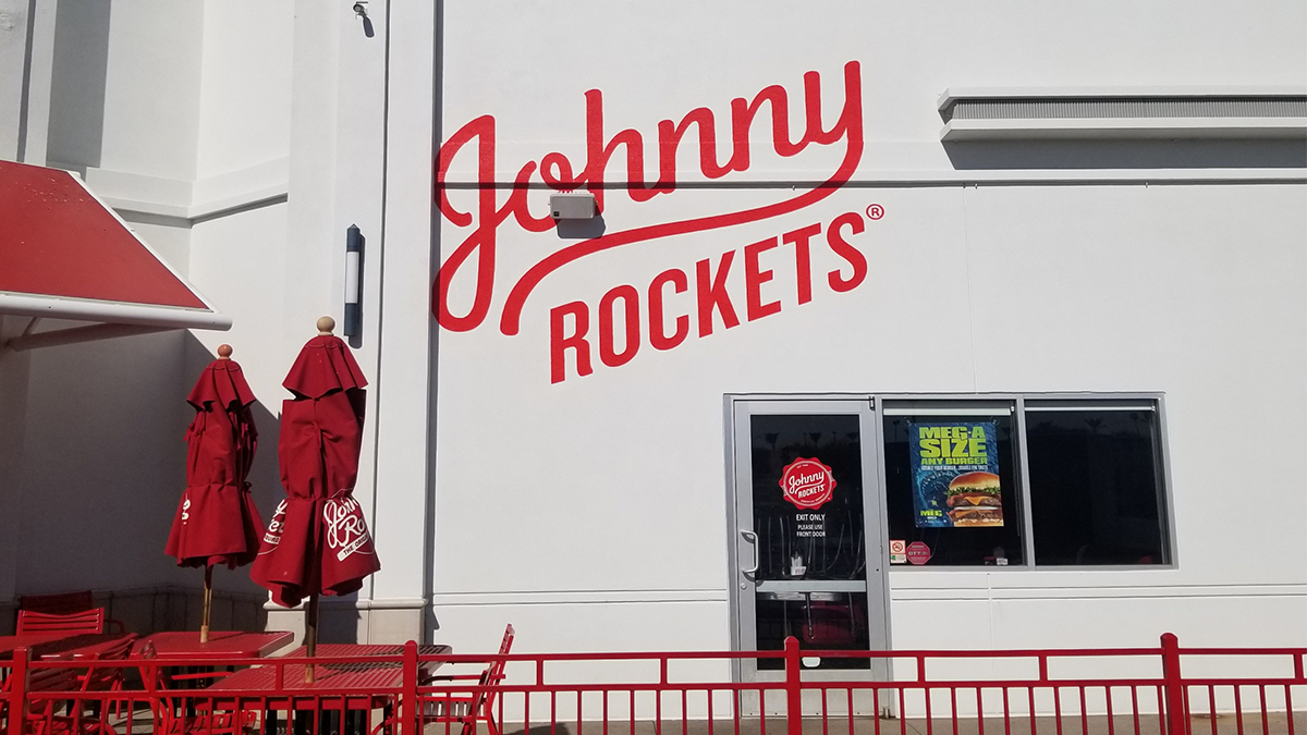 outdoor painted logo wall graphics johnny rockets artisancolour