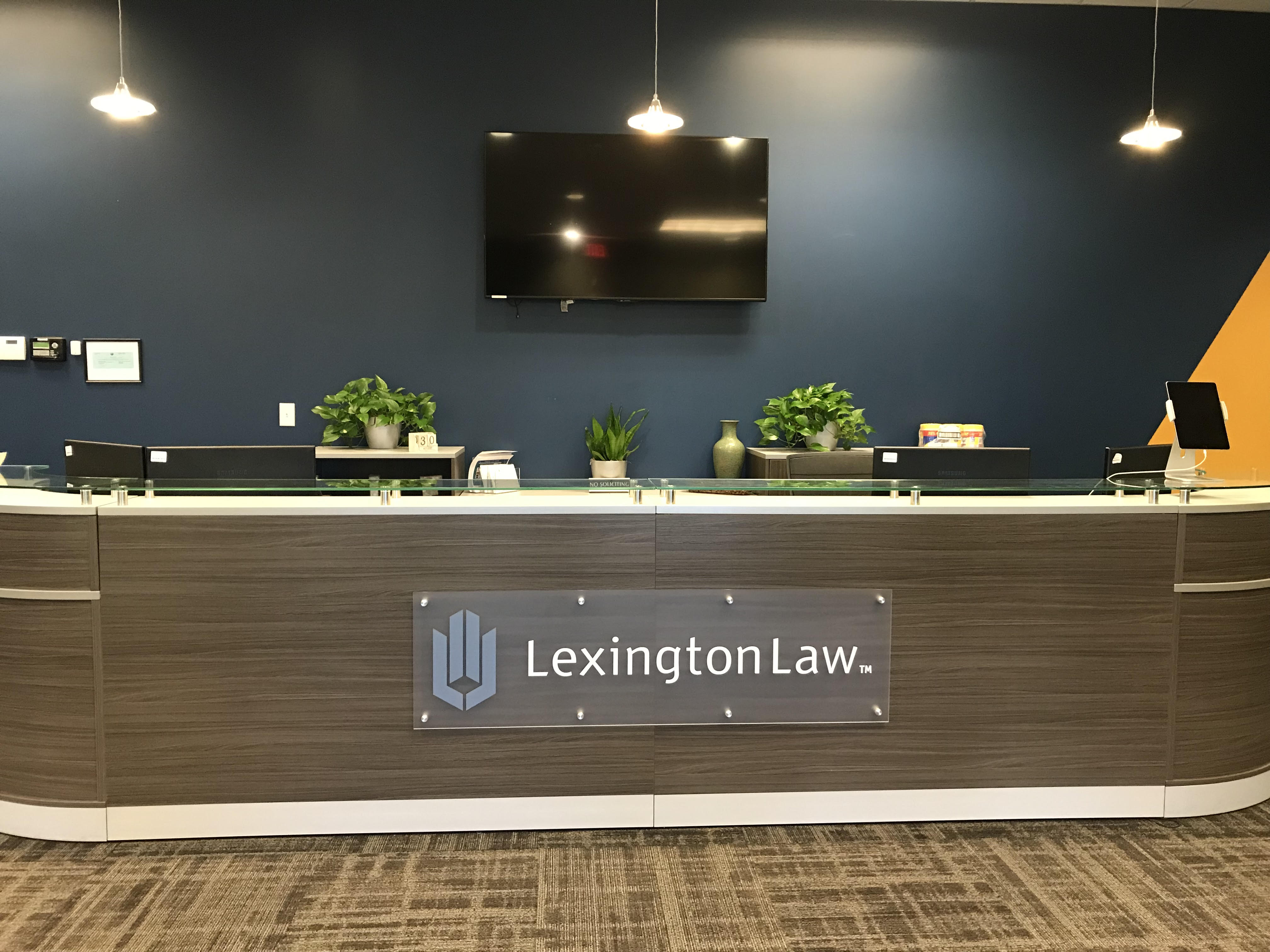 frosted plexiglass signage printed by Artisan Colour for Lexington Law