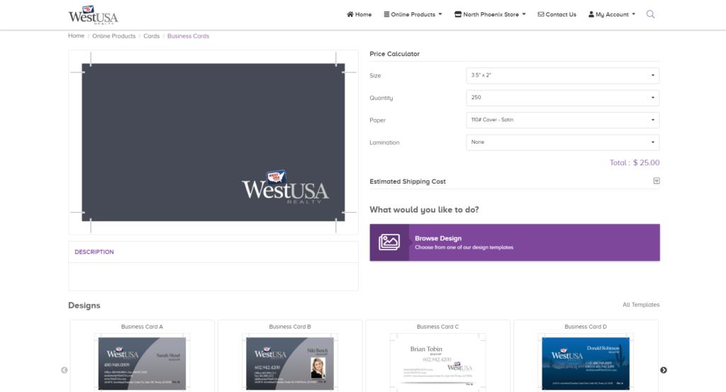 WestUSA client portal business cards