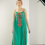 woman wearing dress without bag in photography studio