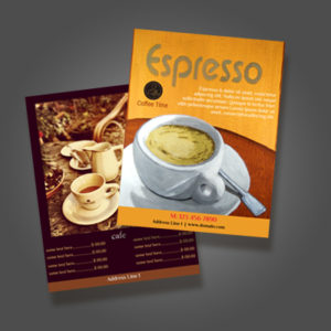 two sided flyer example coffee and menu offerings