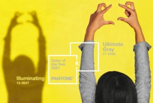 Pantone Color of the Year shadow girl in yellow wall web