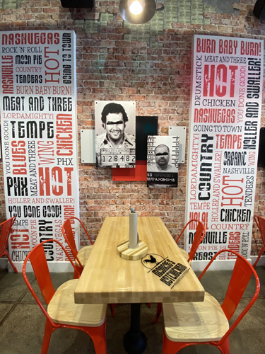 Creating your space with restaurant graphics at Monroe's Hot Chicken