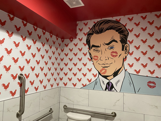 Wall Graphics by Artisan Colour in Monroe's Hot Chicken Restroom